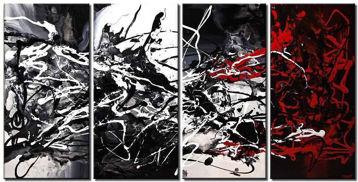 modern textured black white abstract art