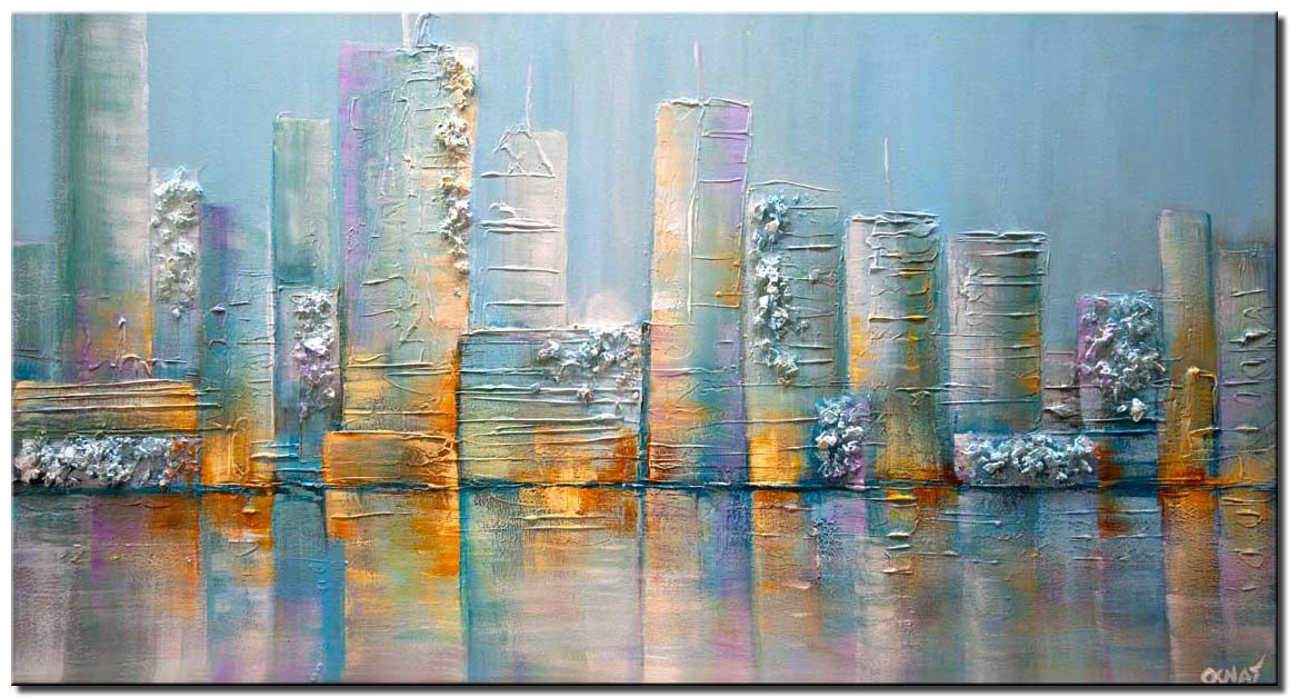 modern textured light blue city painting