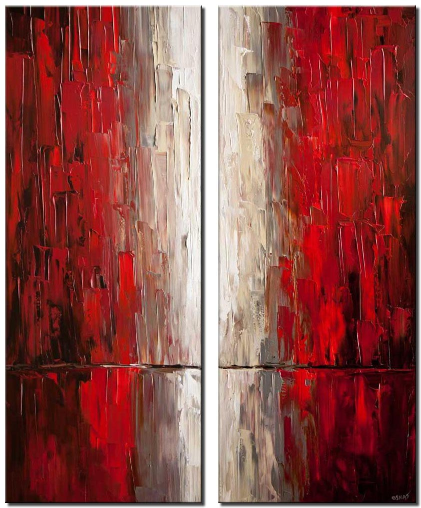 modern red abstract city painting palette knife acrylic painting
