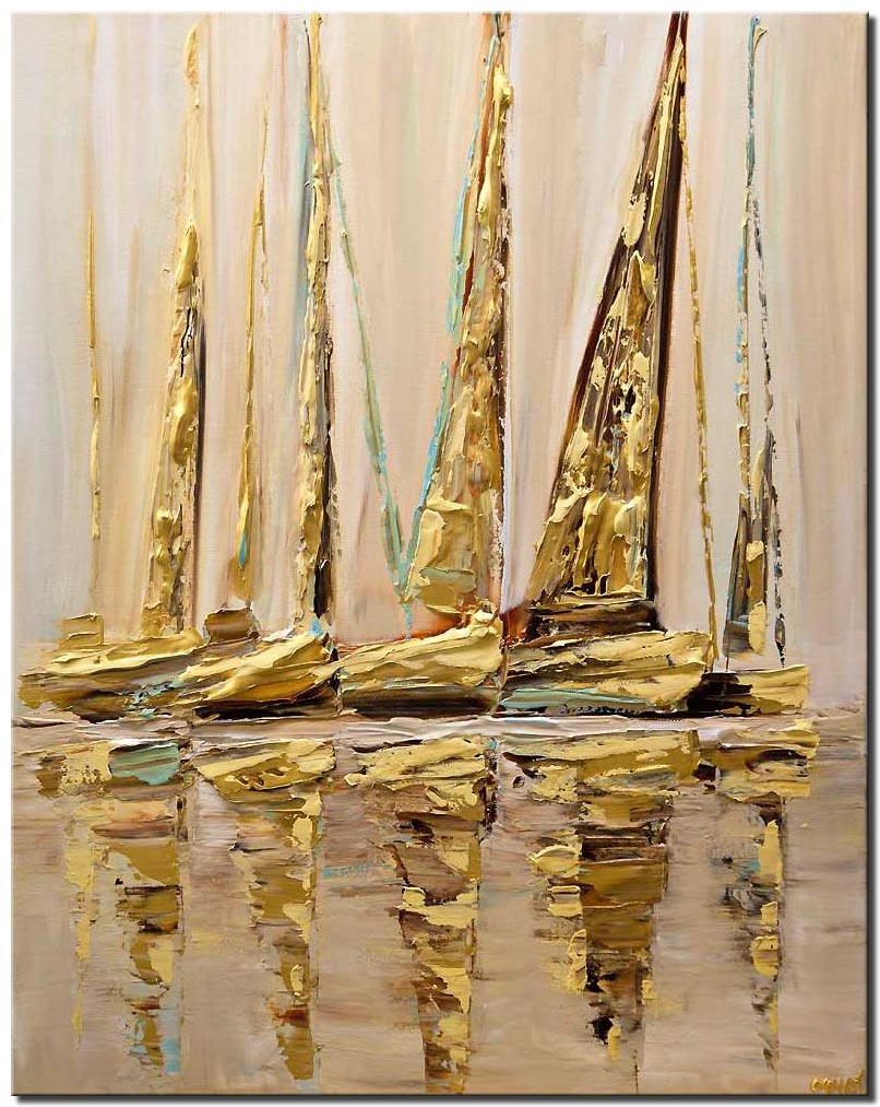 textured modern sailboats painting GOLD