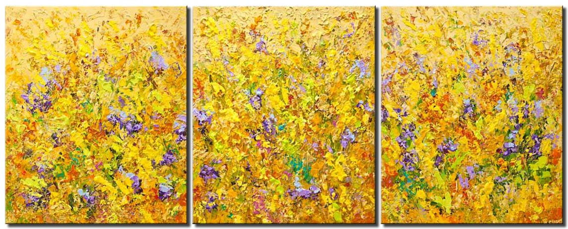 textured abstract art colorful blooming flowers painting