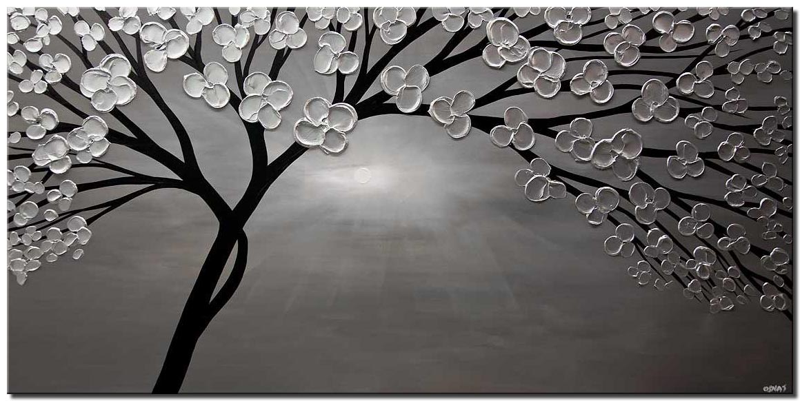 canvas print of abstract silver tree painting