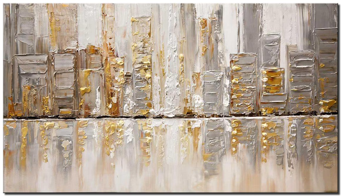 abstract art silver city painting