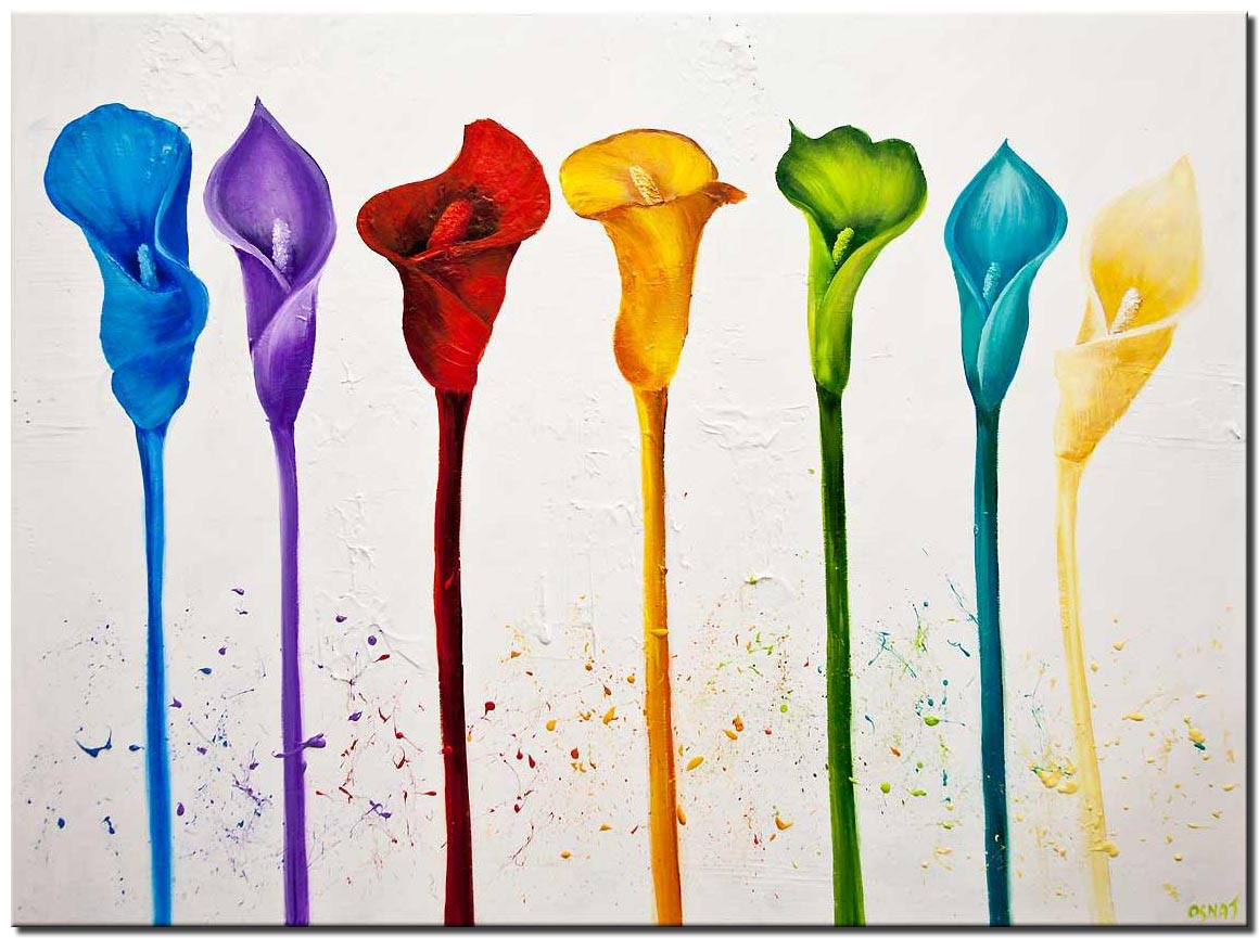 colorful tulips abstract floral painting