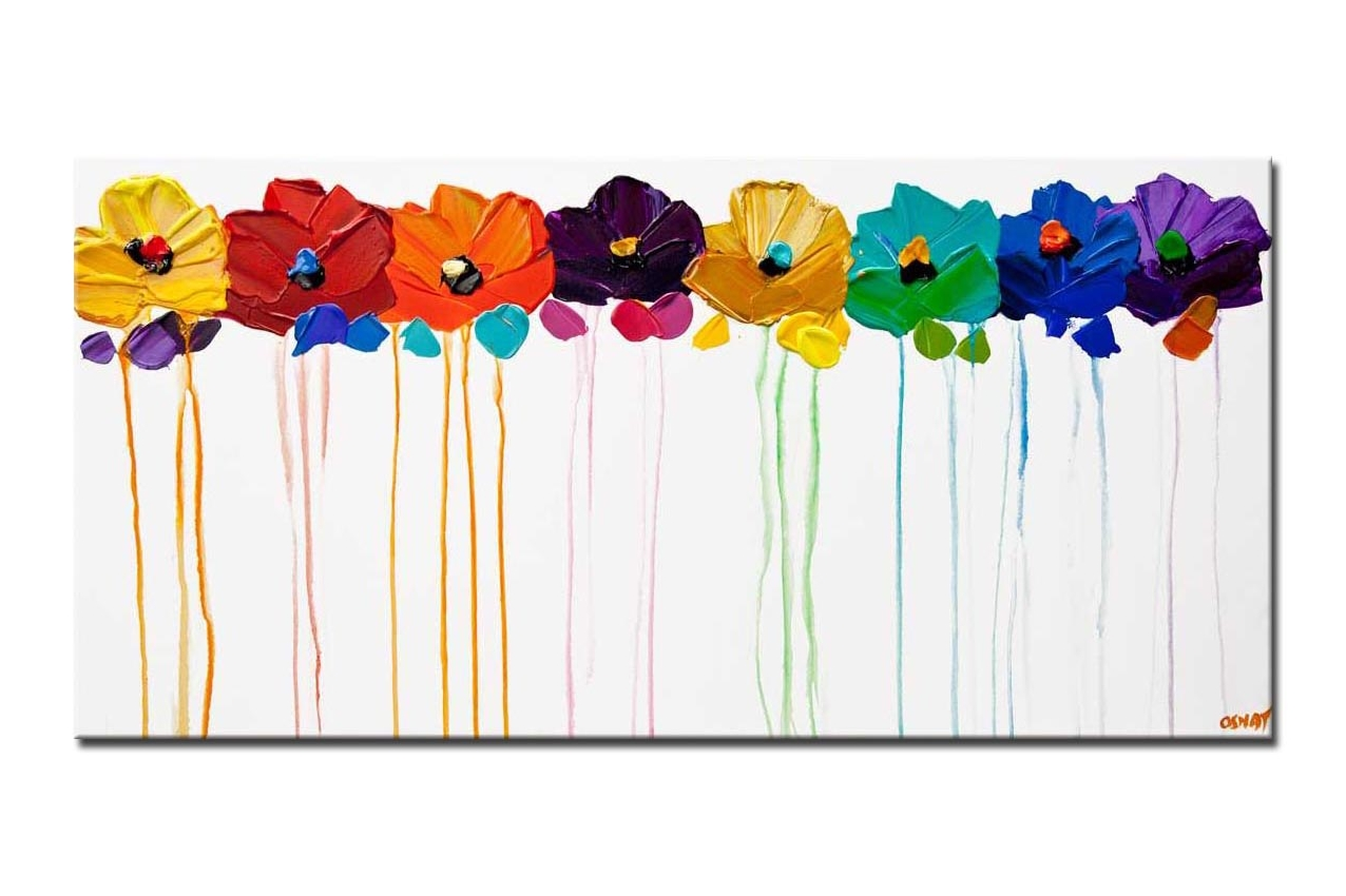 colorful flowers  painting on white background