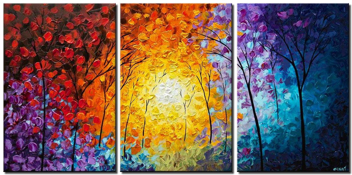 canvas print of modern colorful forest painting on canvas
