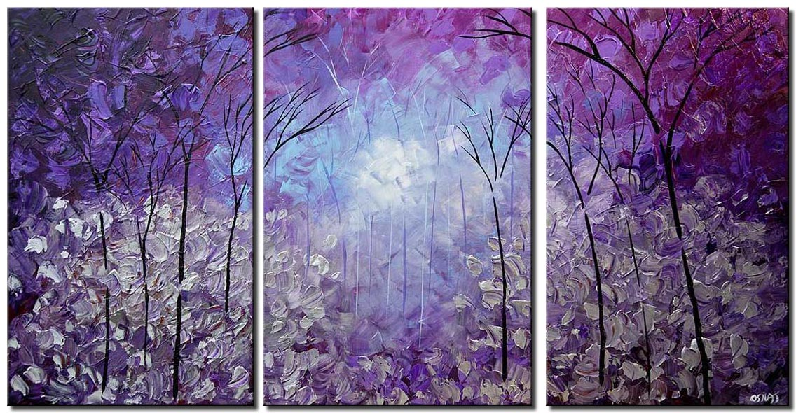 canvas print of modern palette knife blooming trees purple silver landscape painting
