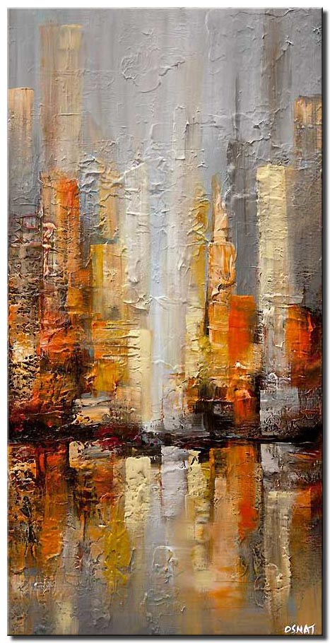 canvas print of gray city painting textured abstract city
