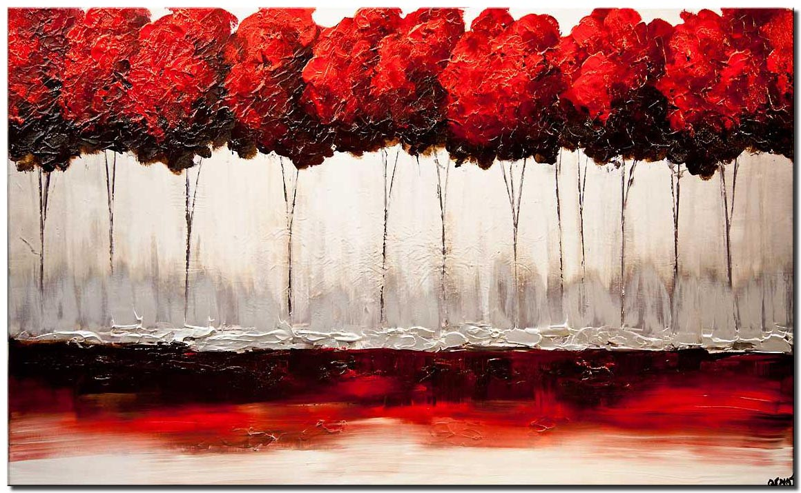 canvas print of red blooming trees painting red blossom textured art