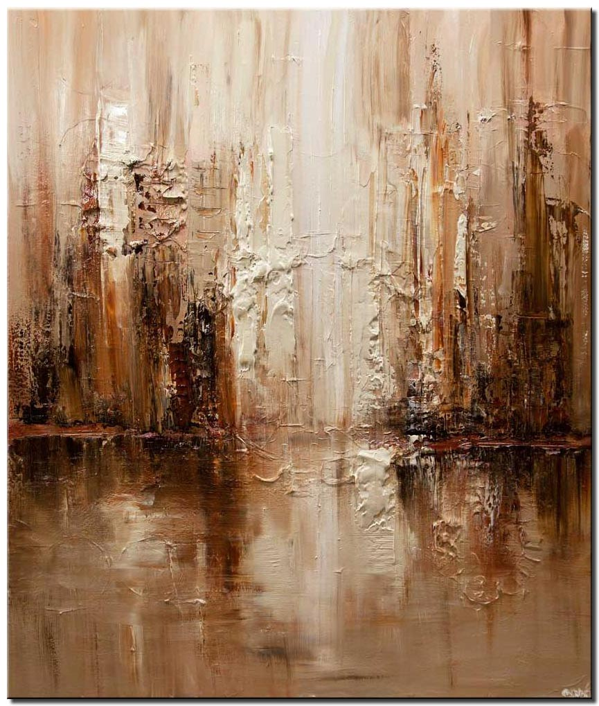 canvas print of modern brown abstract city painting