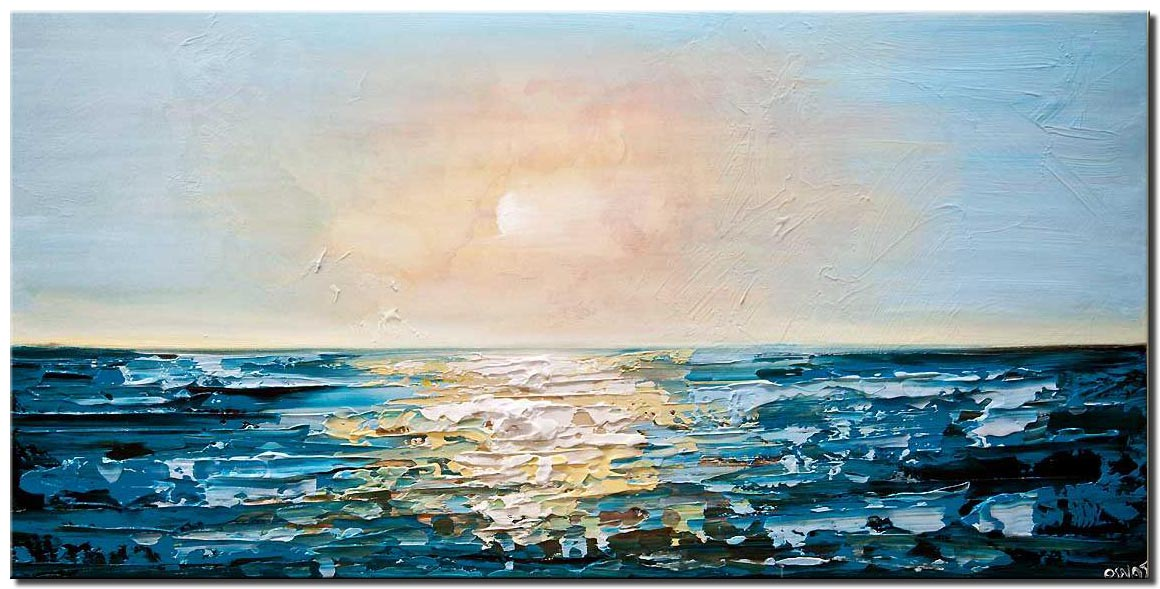 teal sunrise abstract painting seascape painting