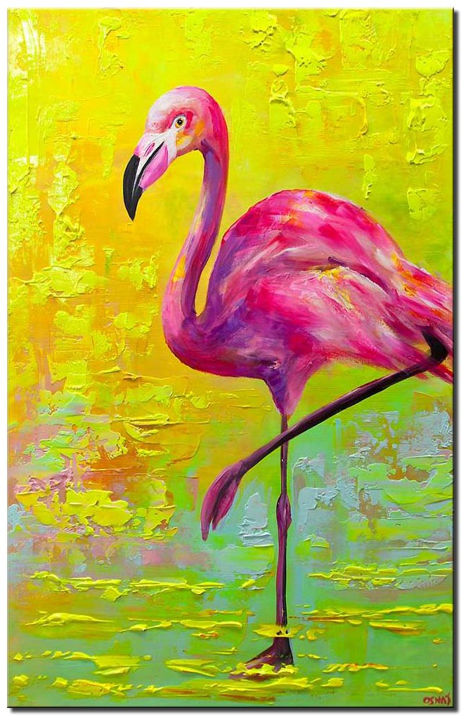 canvas print of Pop Art Flamingo abstract painting