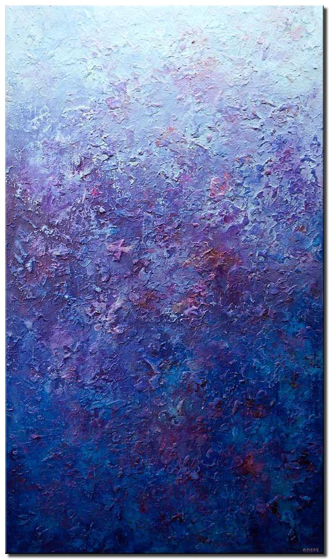 canvas print of modern blue textured abstract painting