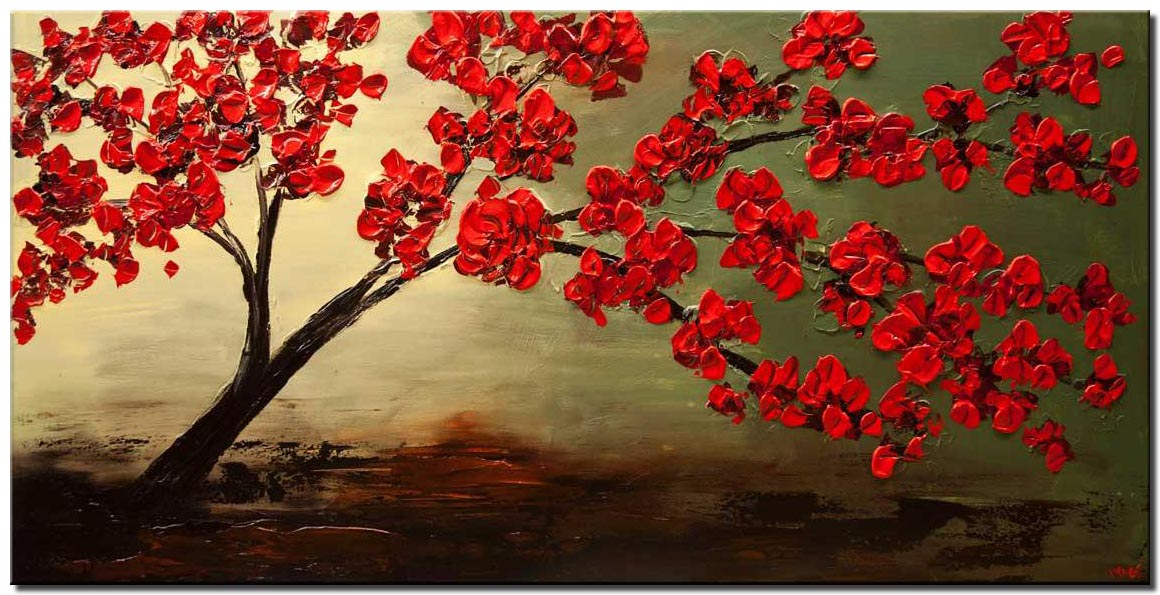 canvas print of modern palette knife red blossom tree painting