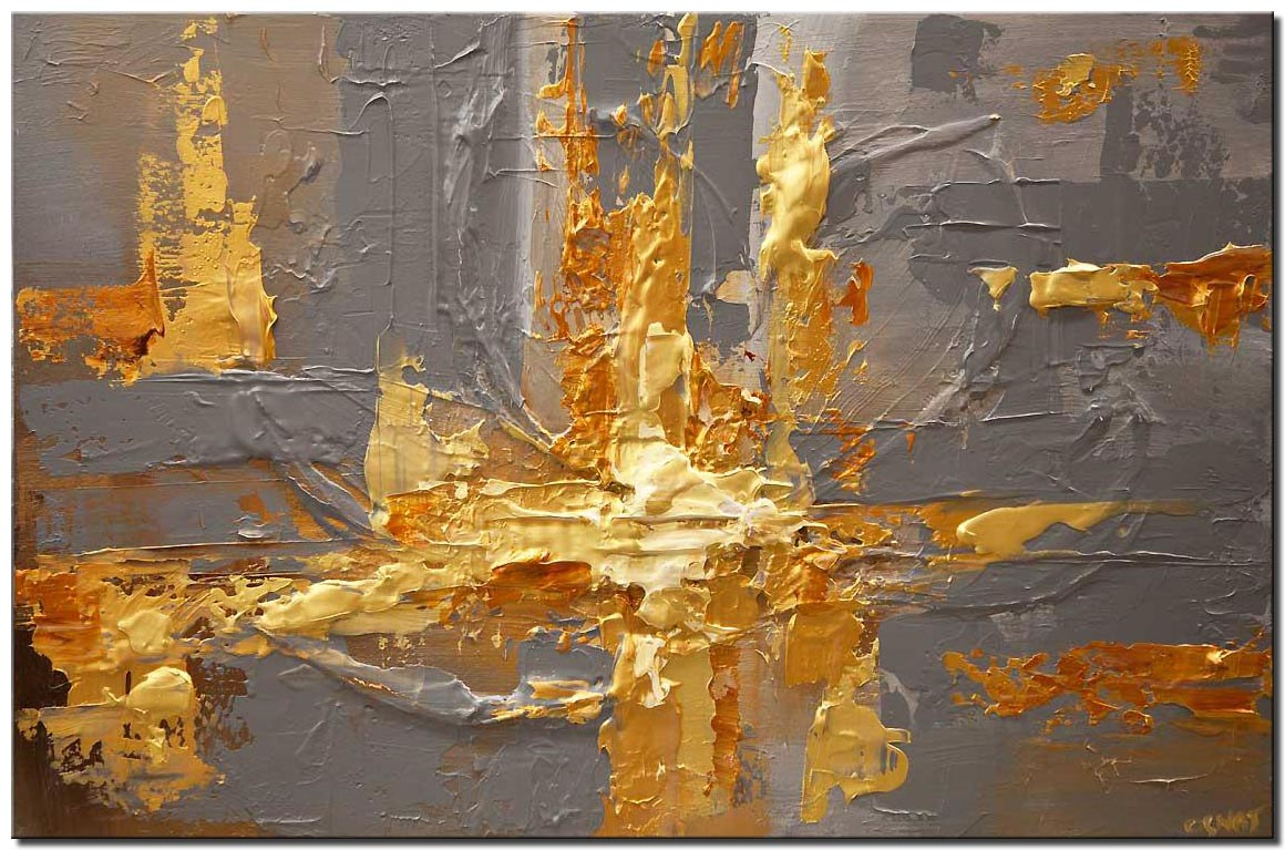 canvas print of gold gray heavy textured abstract art