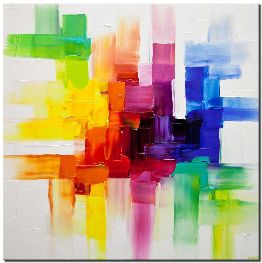colorful abstract art white colorful painting