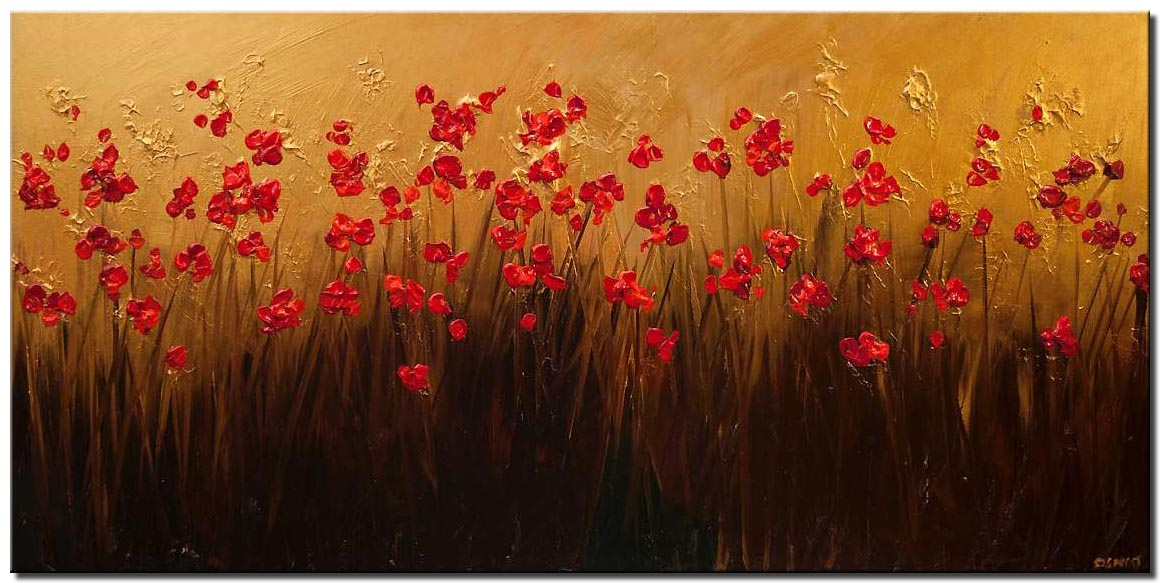 canvas print of red blooming flowers gold textured painting