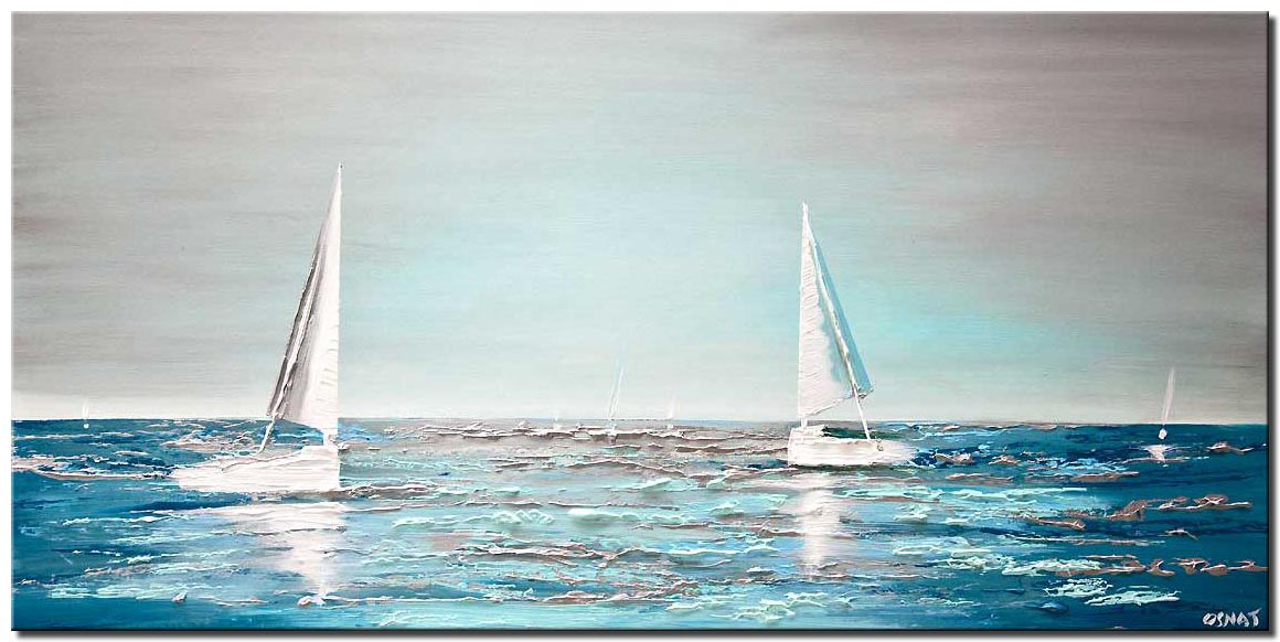 modern teal abstract sailboats painting