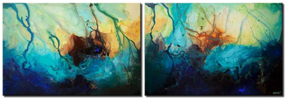 canvas print of big blue abstract paintings
