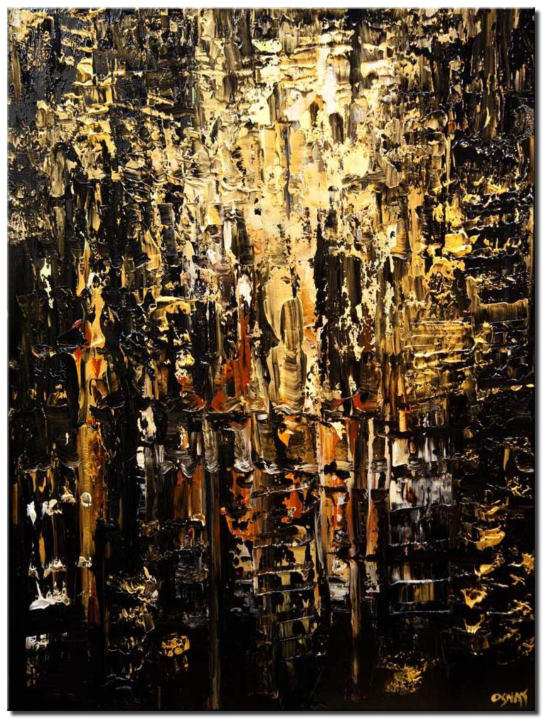 canvas print of modern black gold textured abstract painting