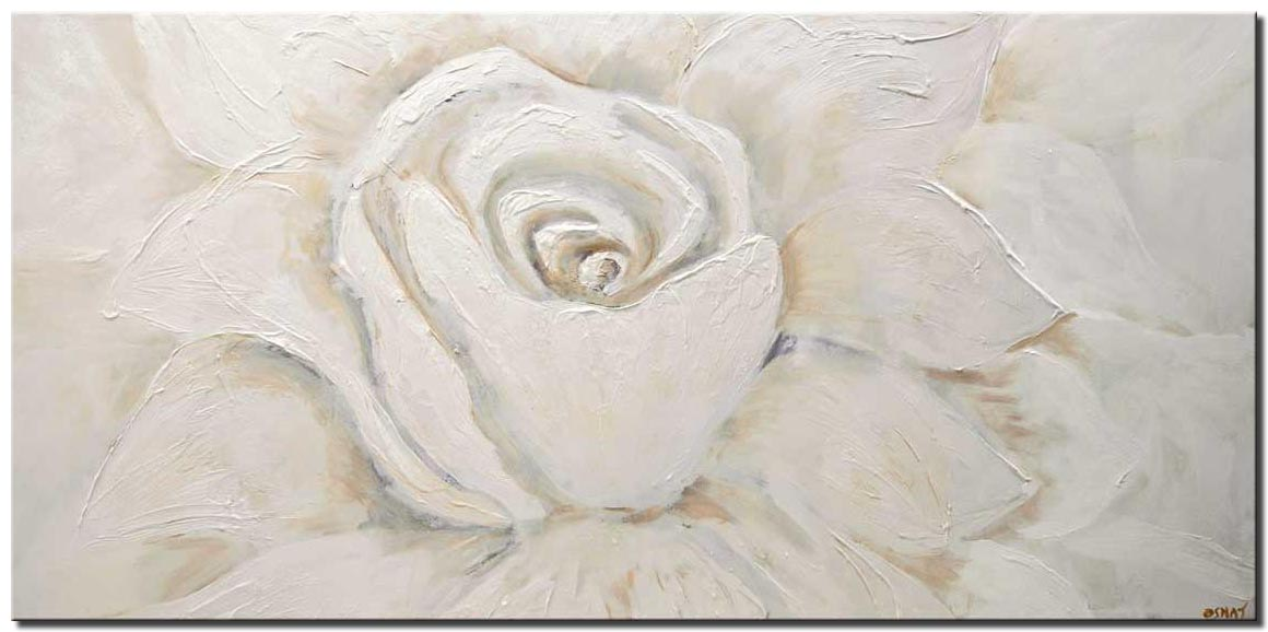 canvas print of large white flower painting with sparks