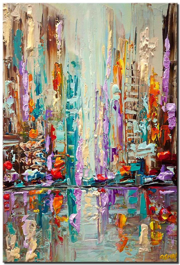 canvas print of city carnival abstract painting