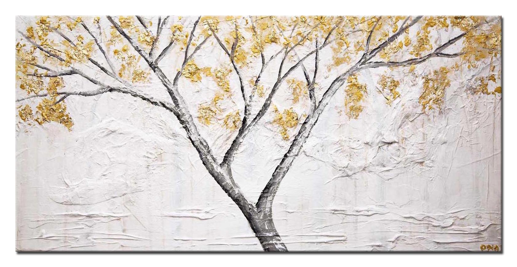 abstract textured painting gold blooming trees white painting