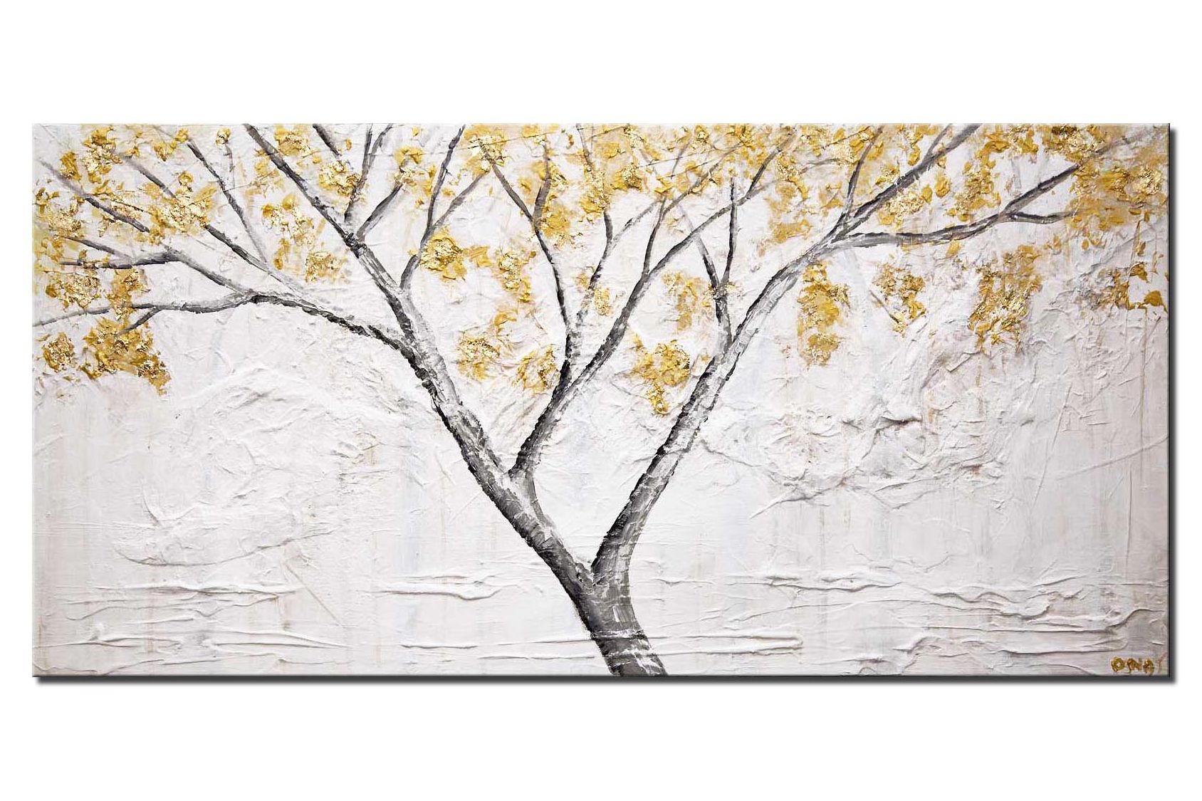 canvas print of abstract textured painting gold blooming trees white painting
