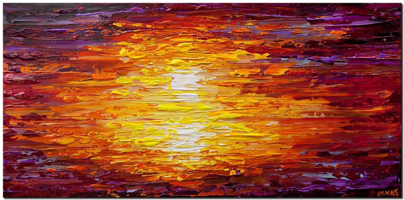 textured sunset abstract painting