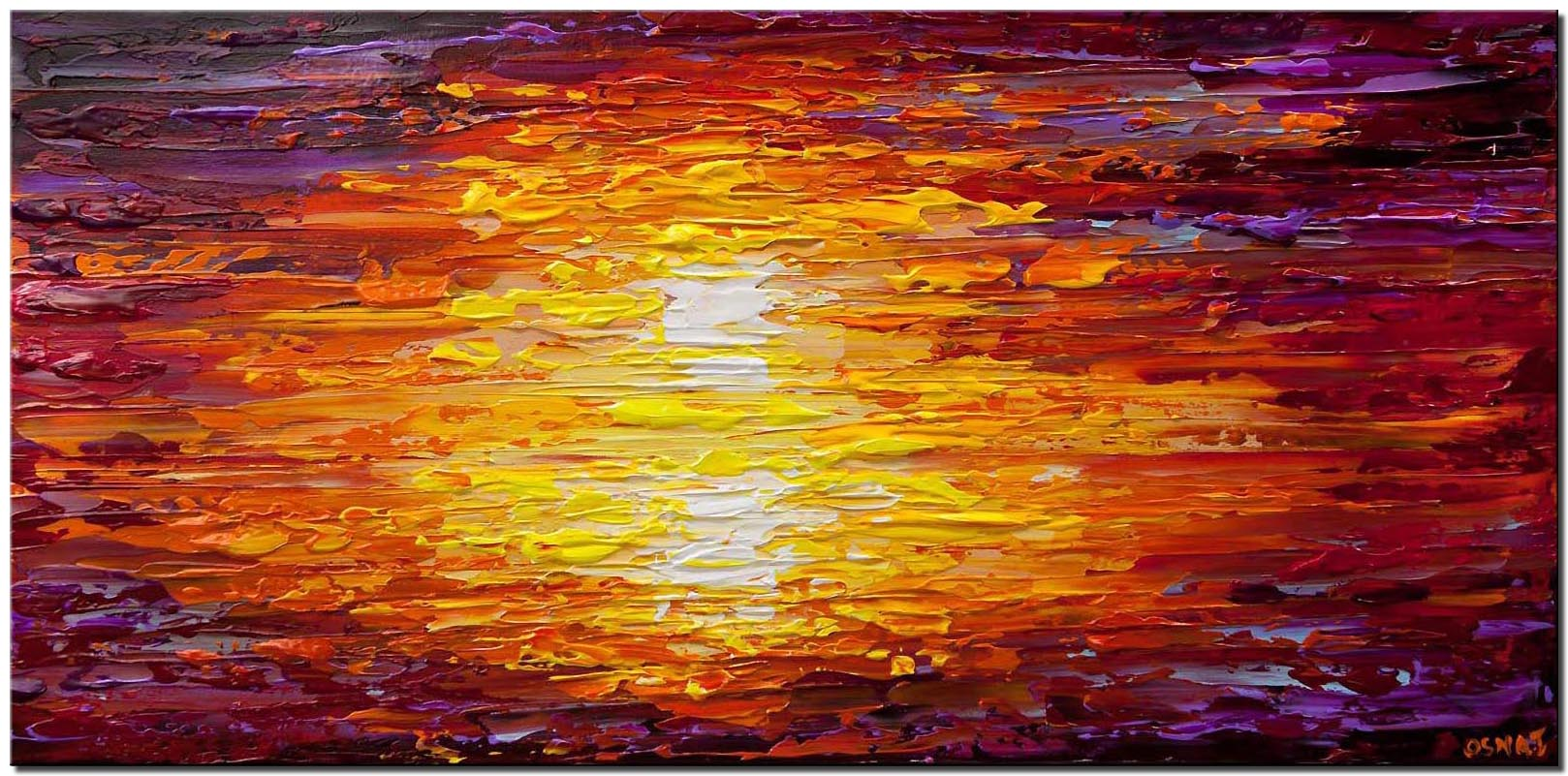 canvas print of textured sunset abstract painting