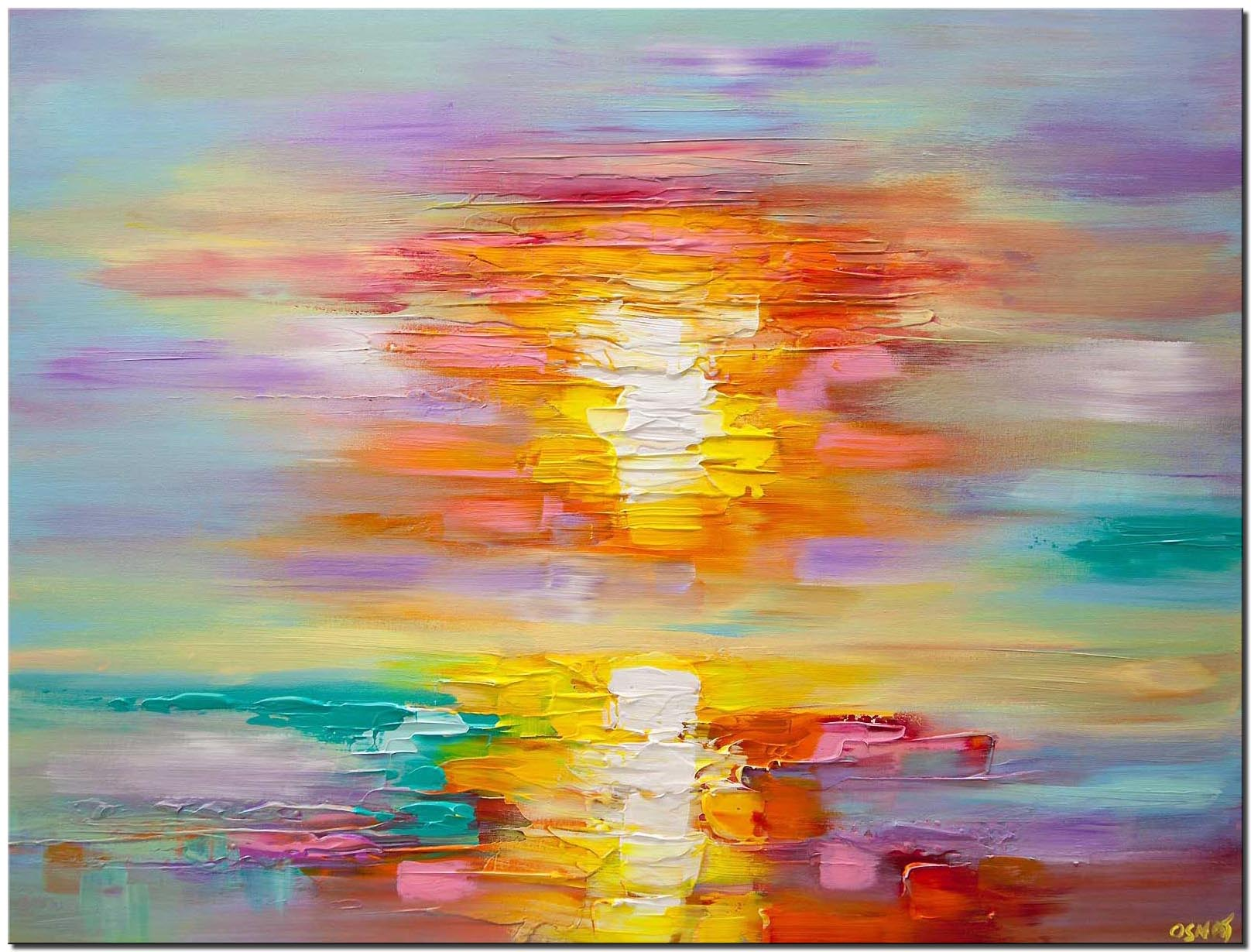 canvas print of textured abstract sunrise painting