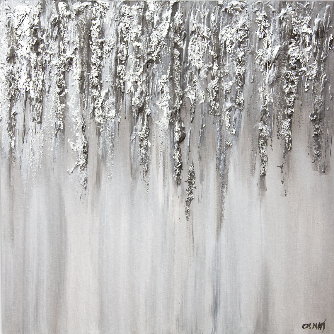 silver white textured abstract art