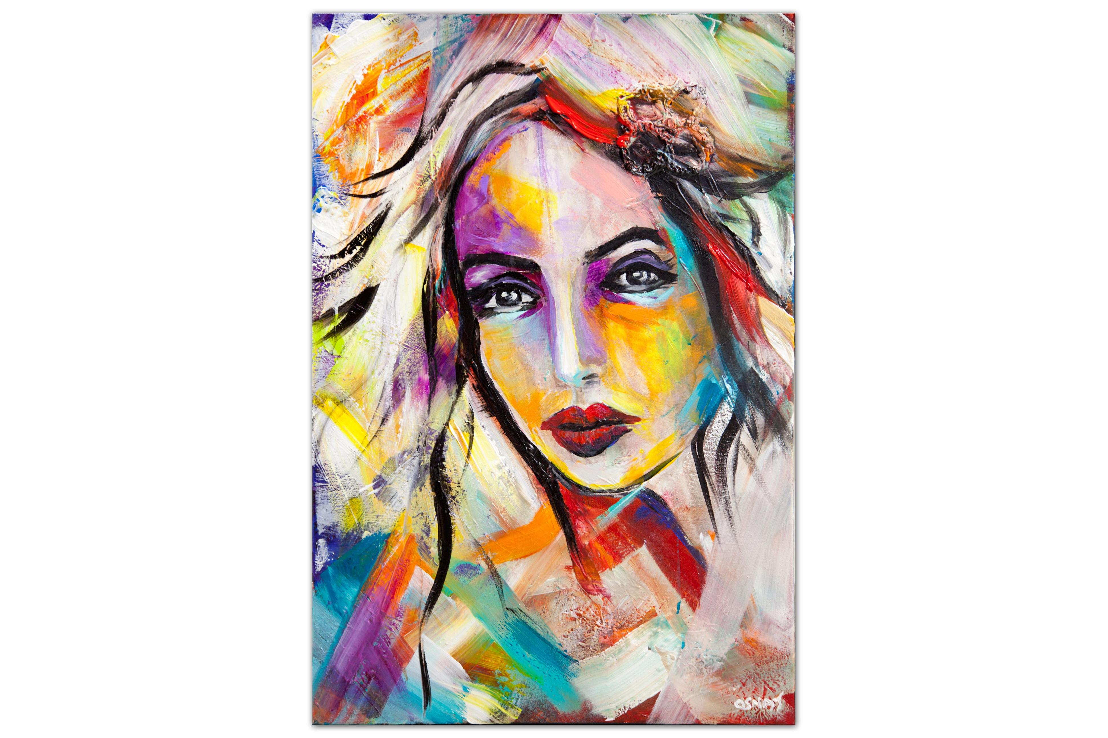 original colorful portrait abstract painting