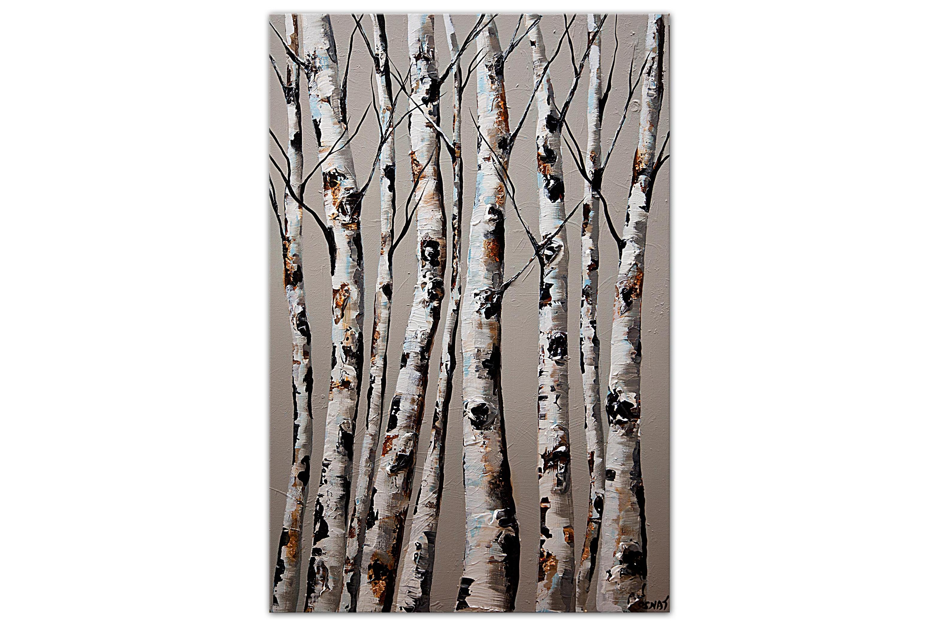modern birch trees abstract painting on light blue background