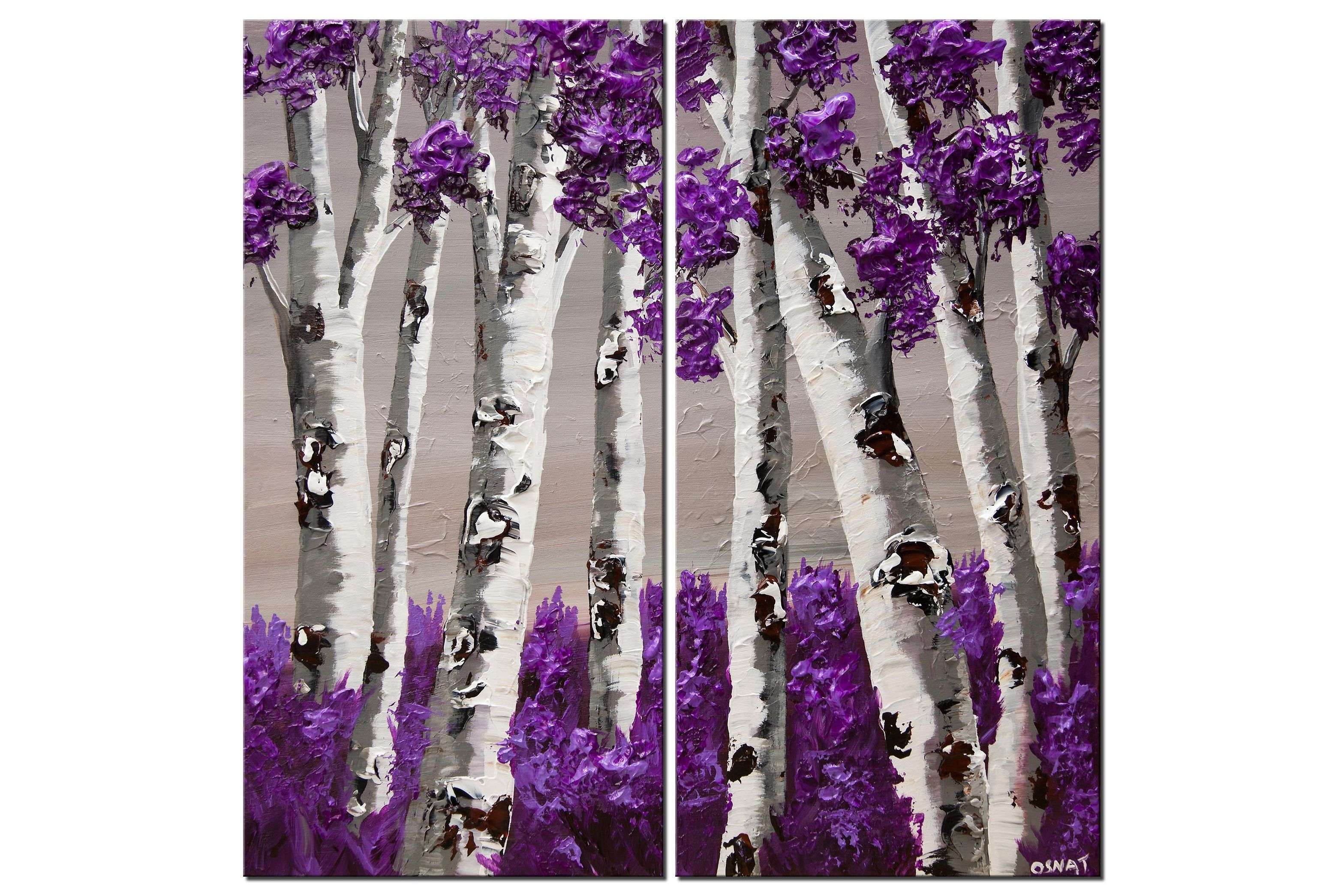 modern purple blooming trees abstract painting