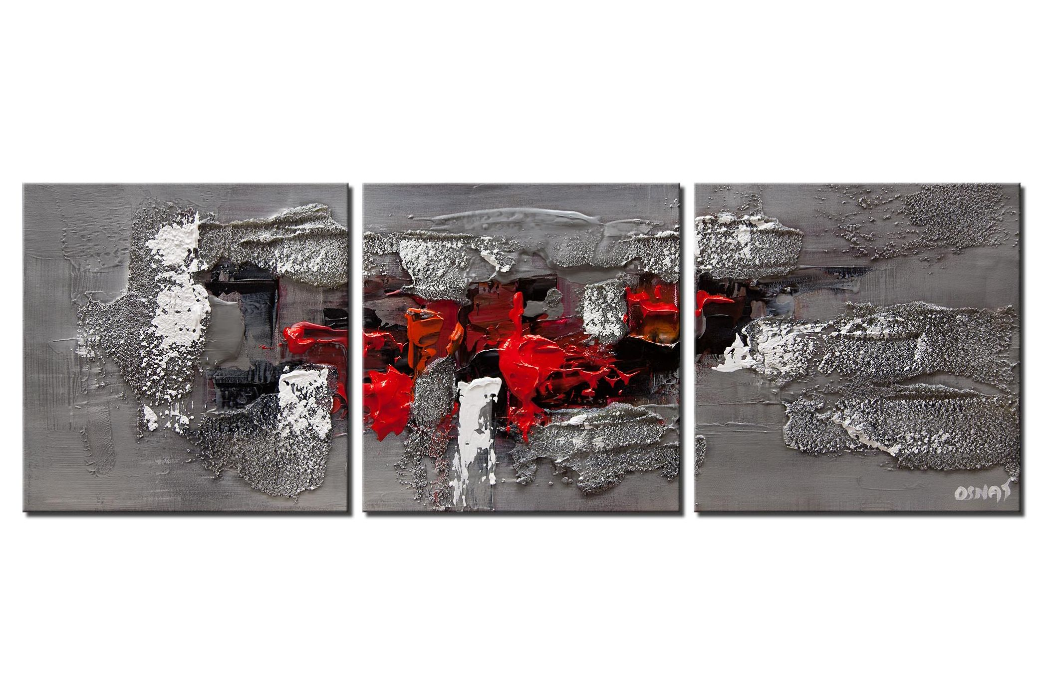 modern abstract painting textured in red gray black
