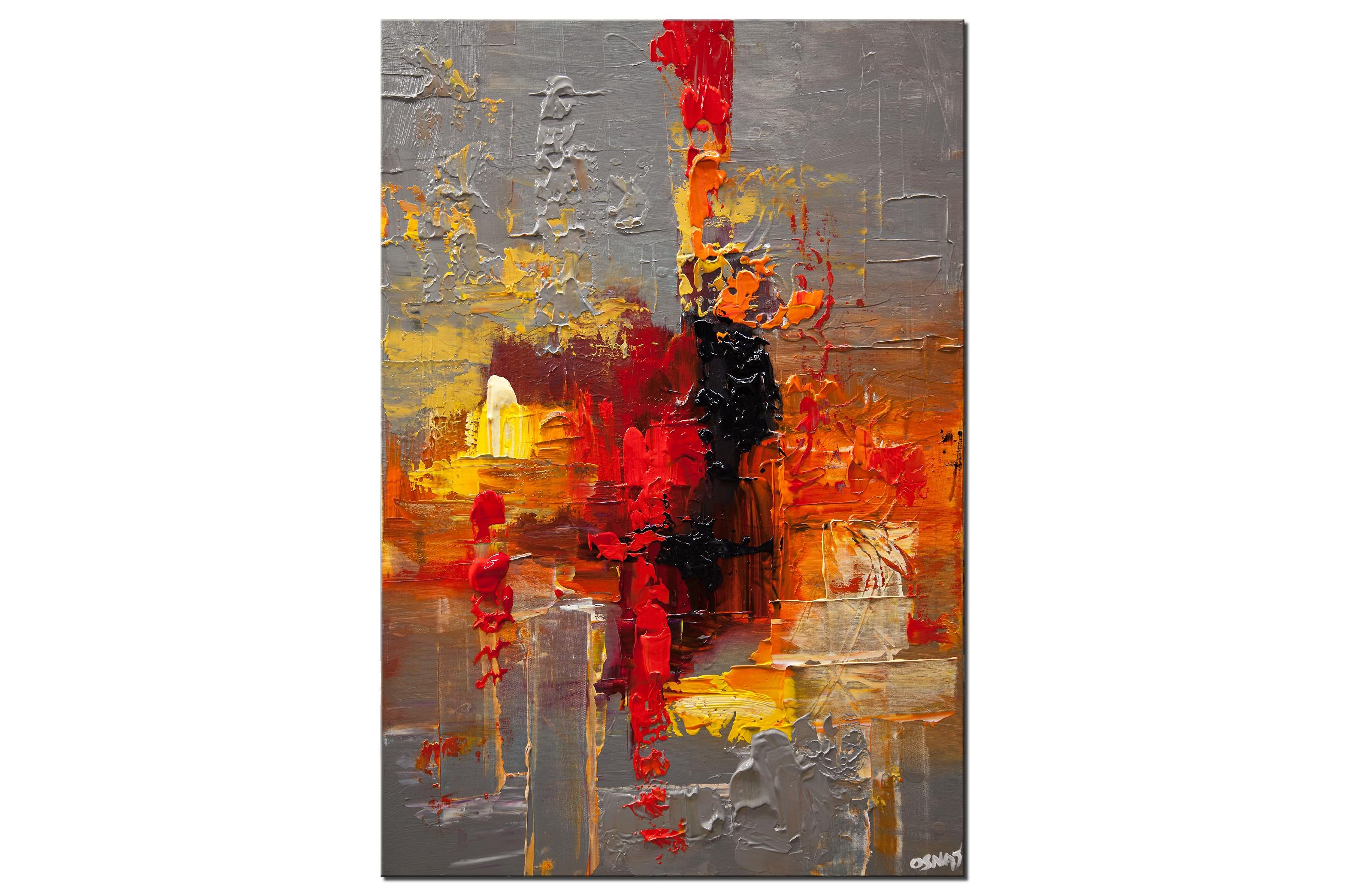 modern abstract painting with texture red, gray, black, orange