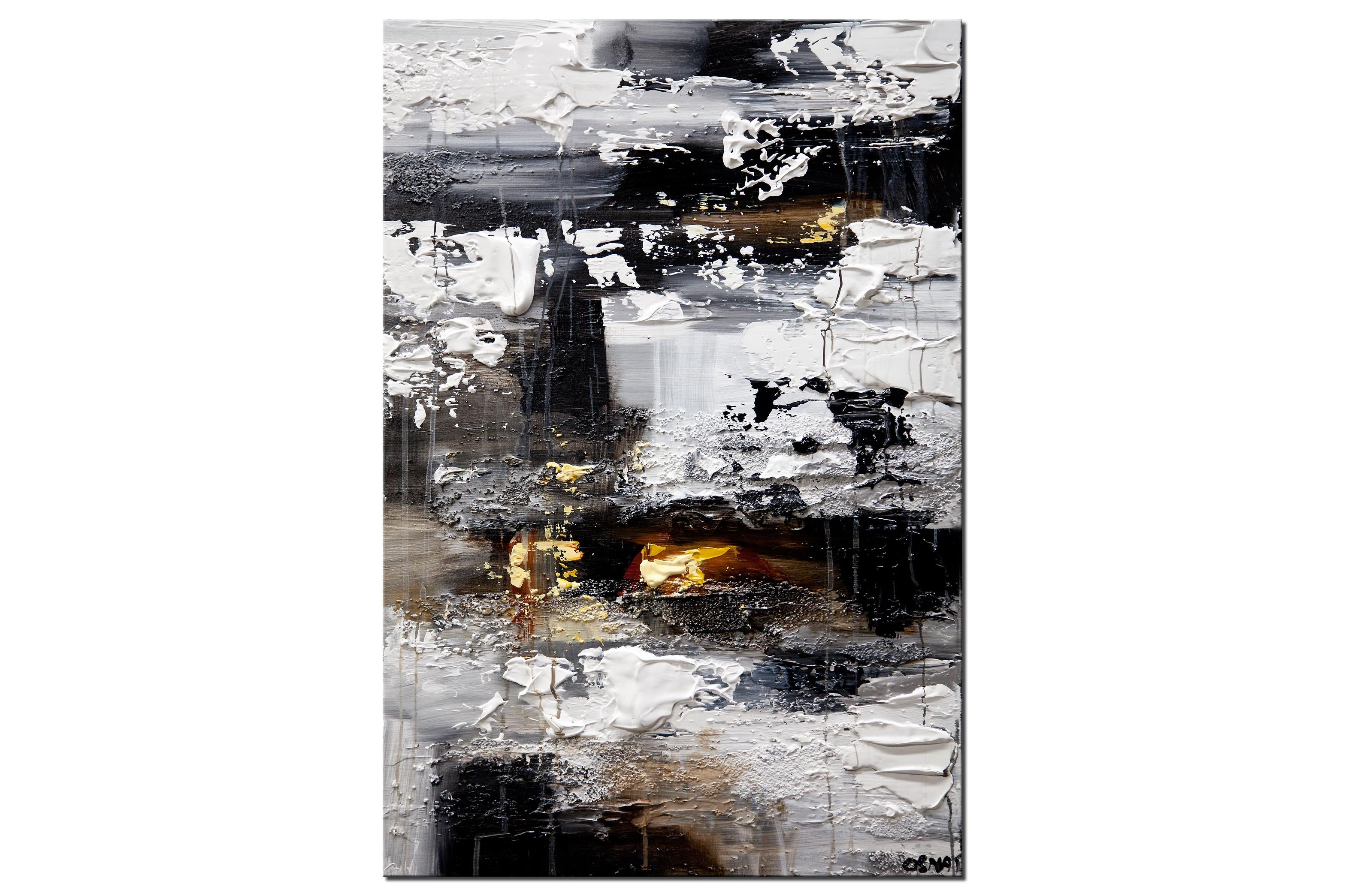 original heavy textured modern white abstract painting