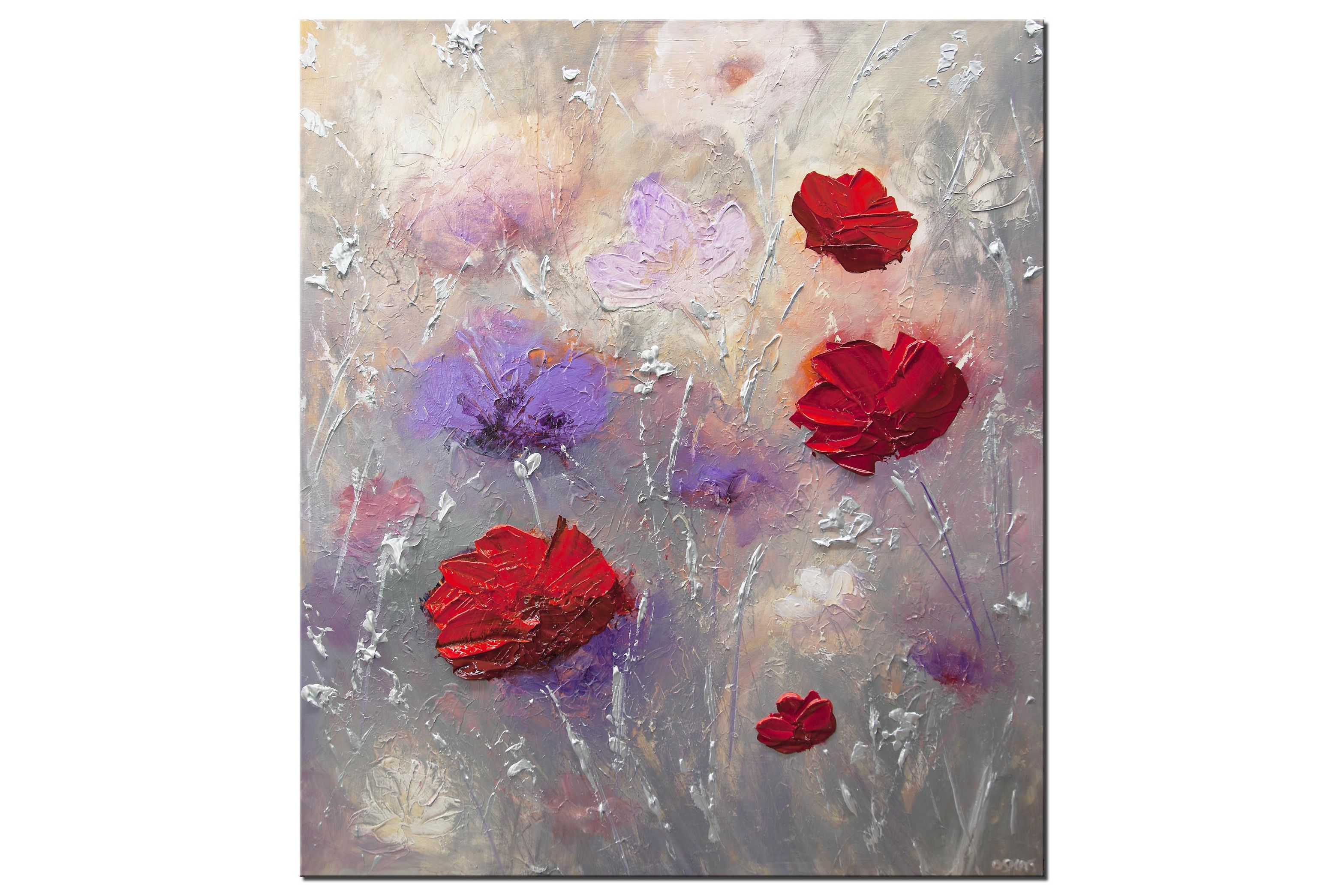 modern gray red blooming flowers abstract painting