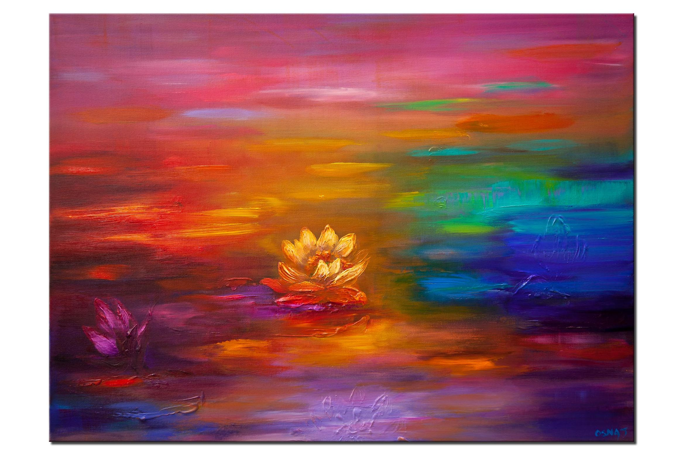 Lotus flowers Lily pads painting