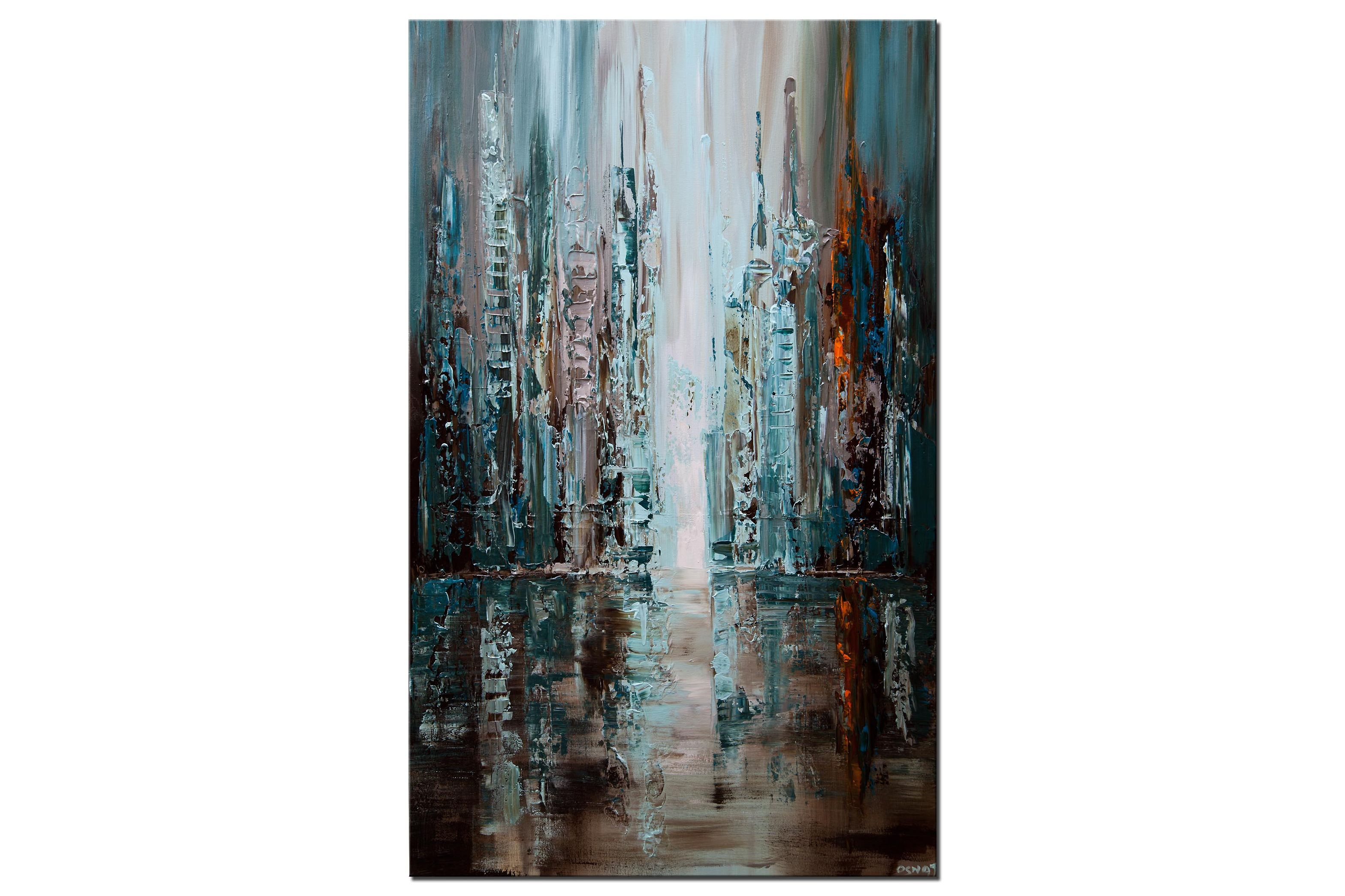 Teal blue orange downtown city abstract painting