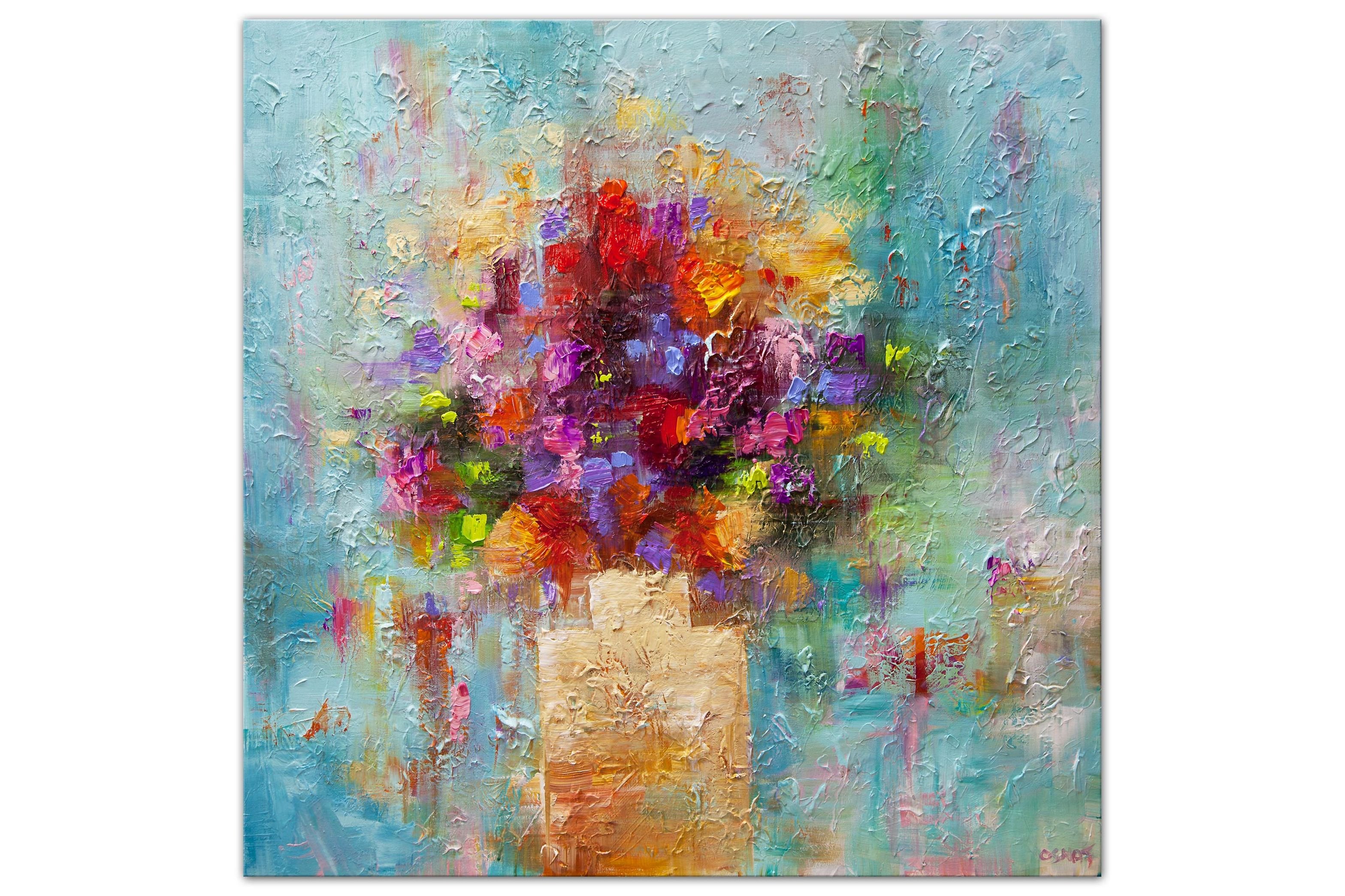 colorful textured modern abstract painting on white