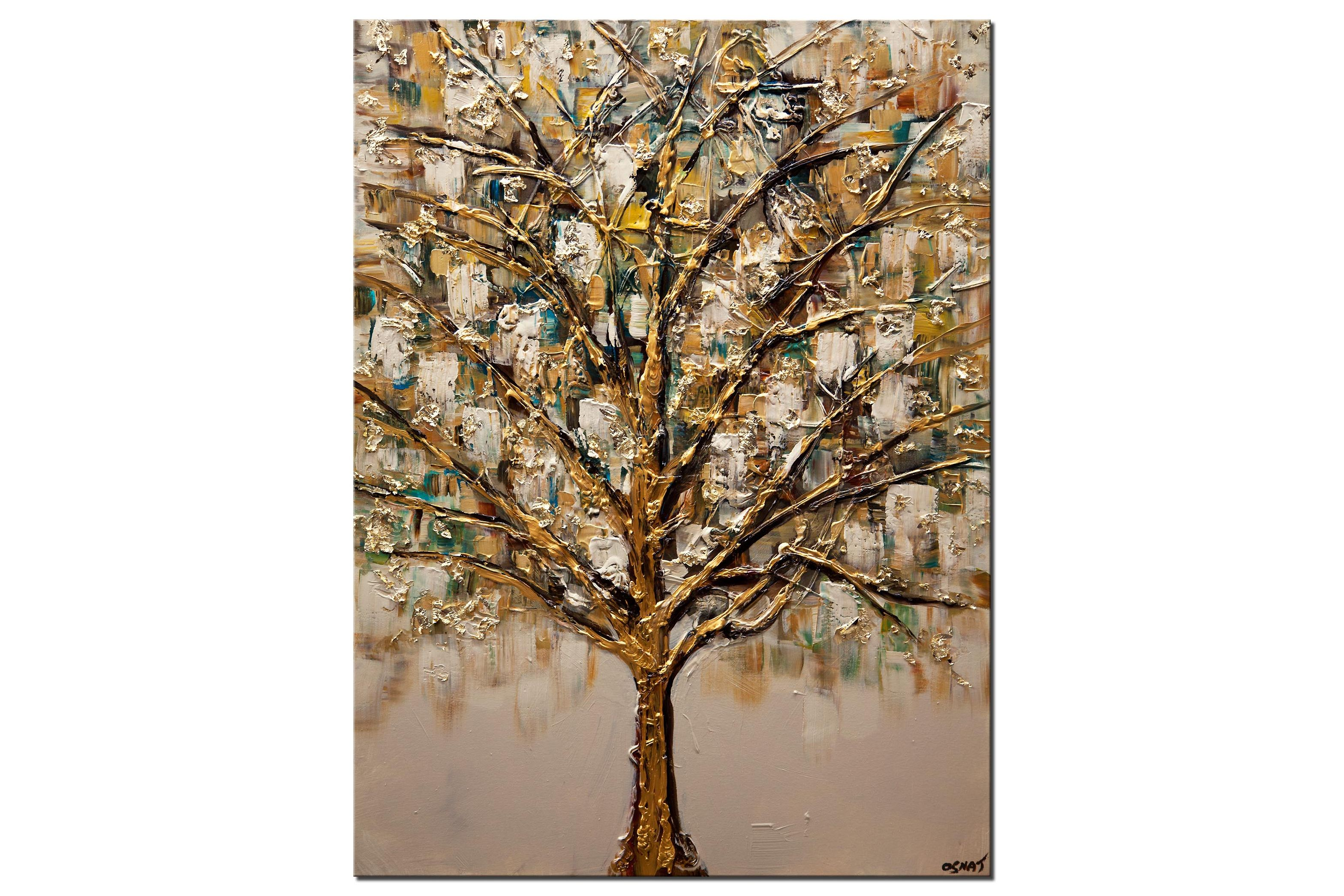 modern golden abstract tree painting
