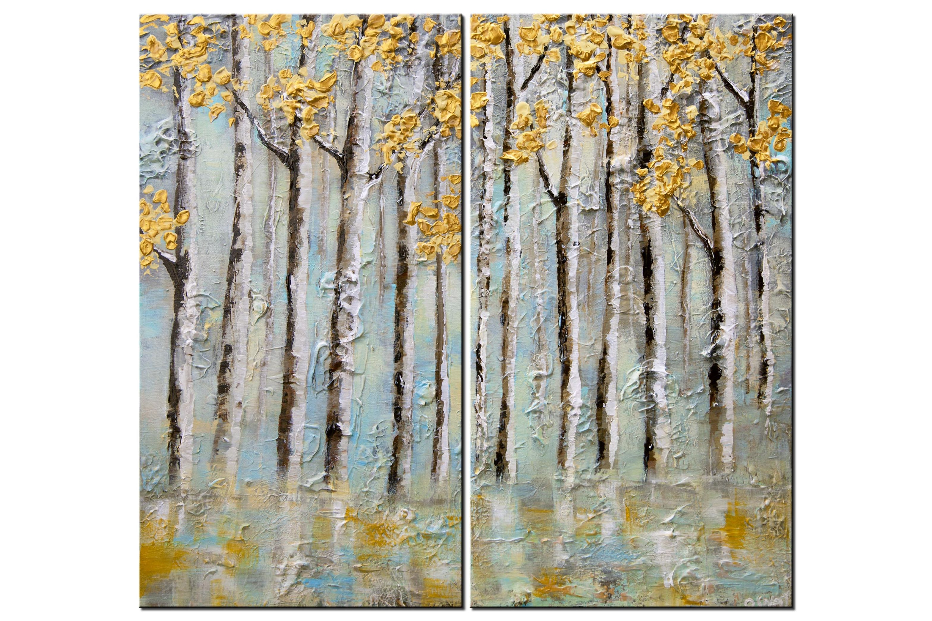 Aspen trees abstract painting earth tones