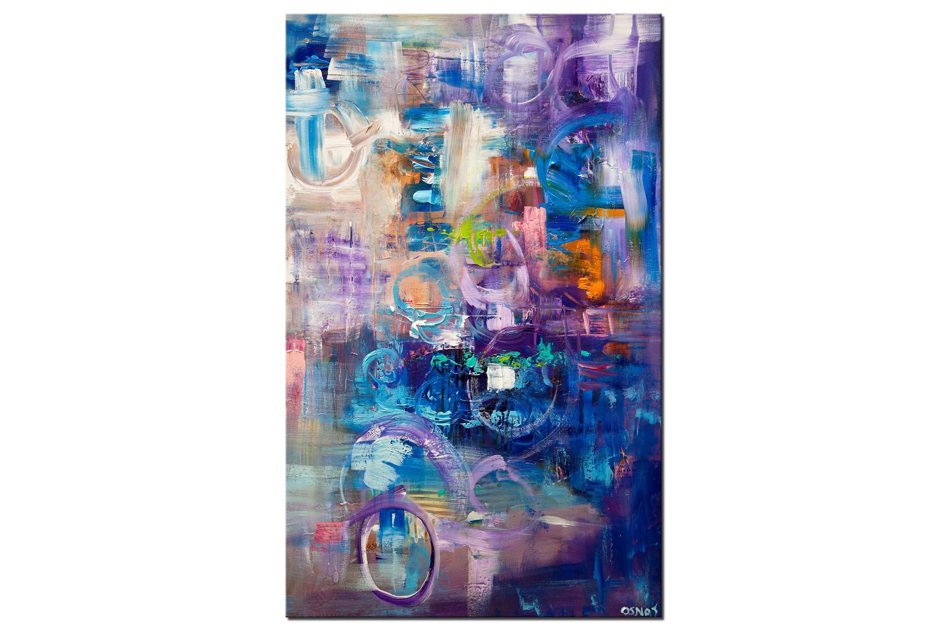 blue purple abstract wall hanging