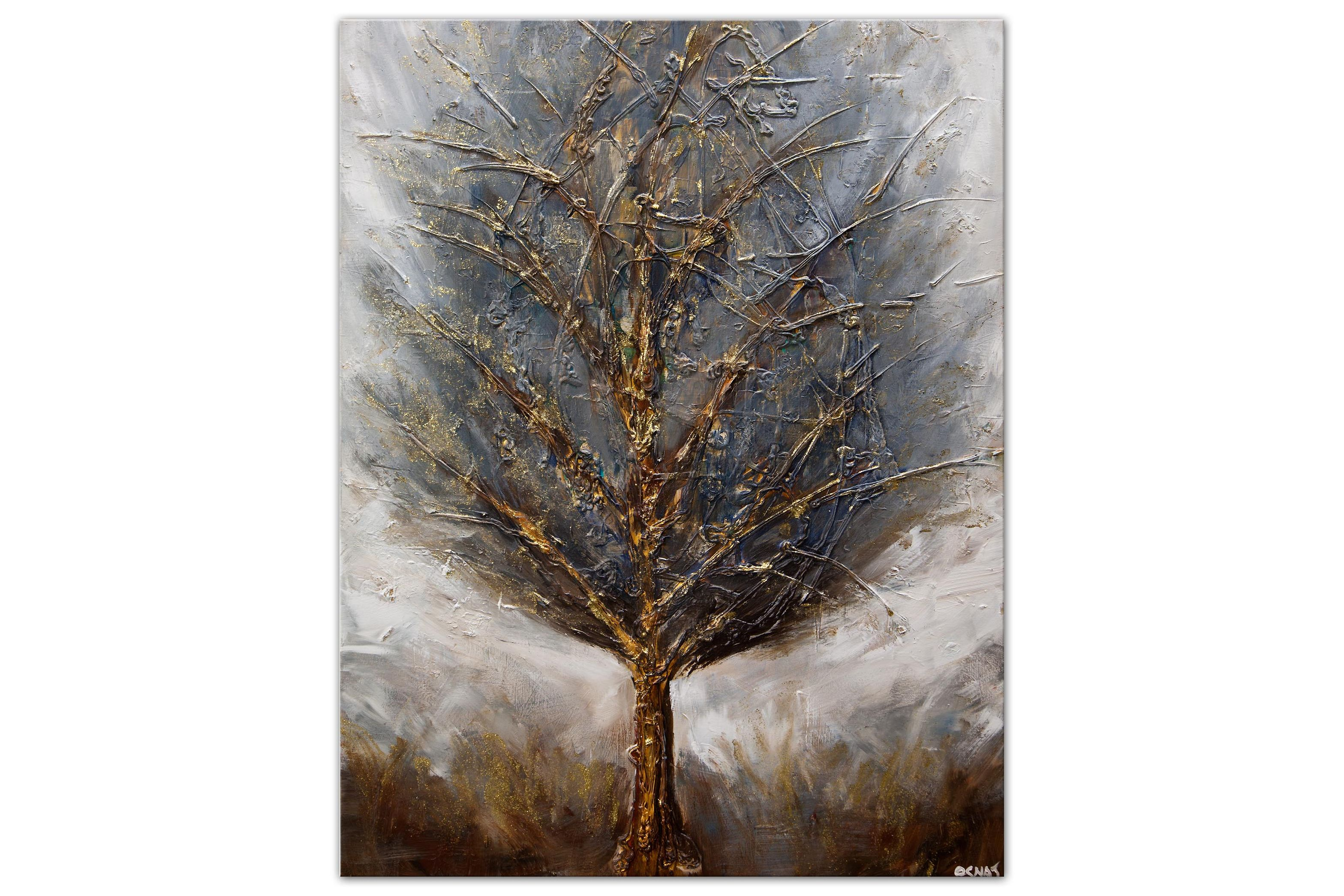 blue brown gold abstract tree painting