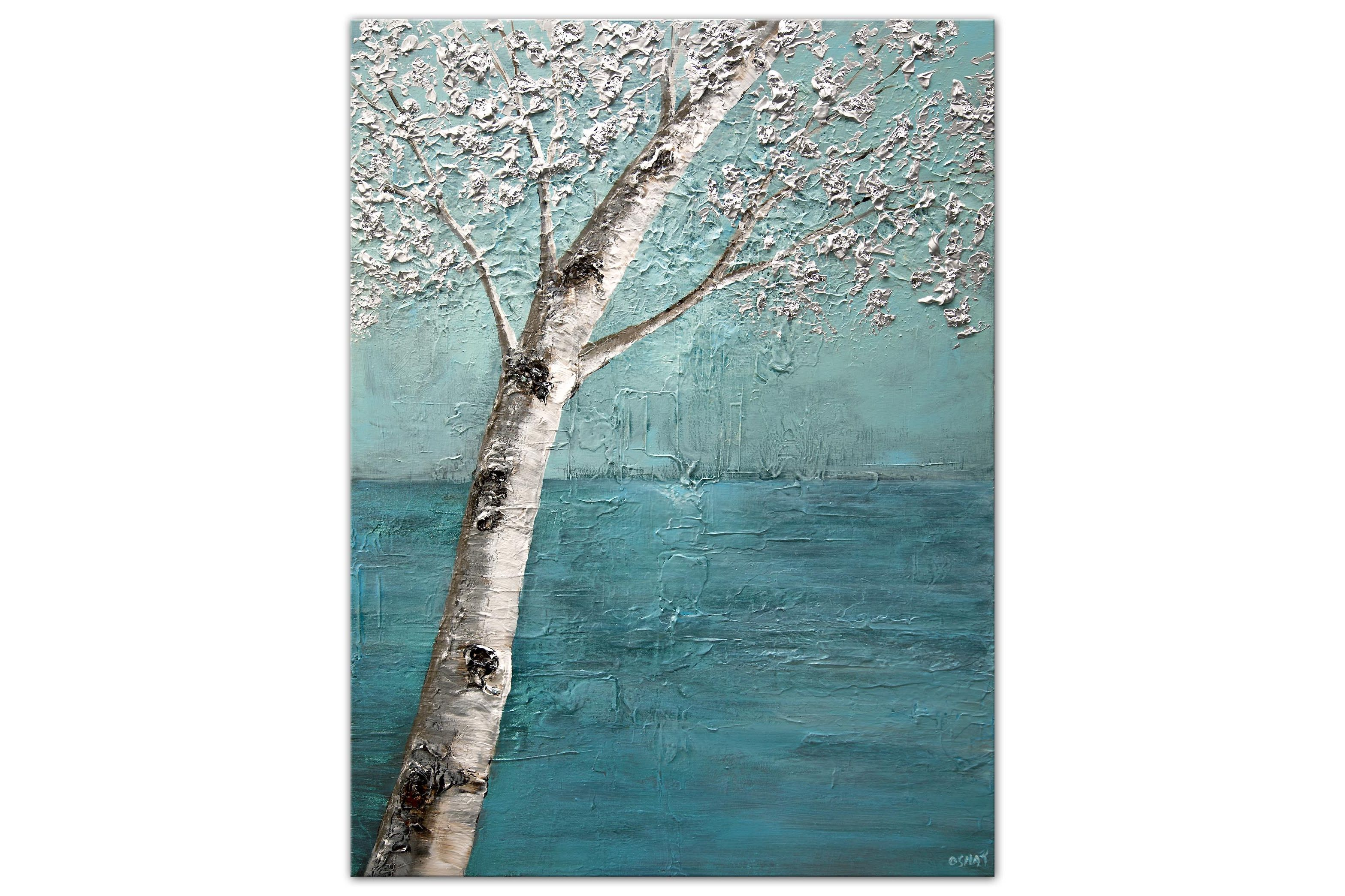 modern white birch tree painting silver light blue painting