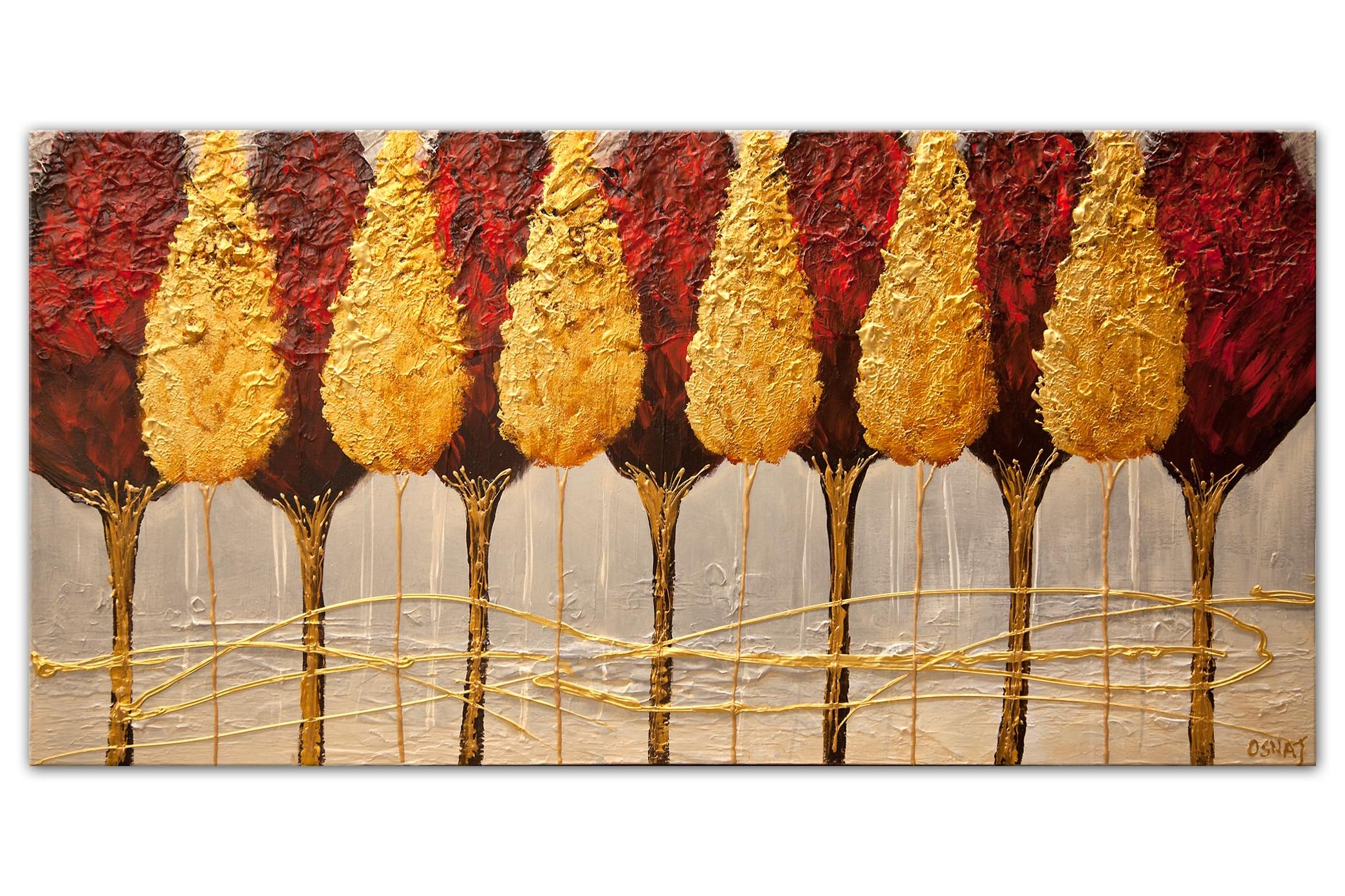 large red trees abstract painting with gold