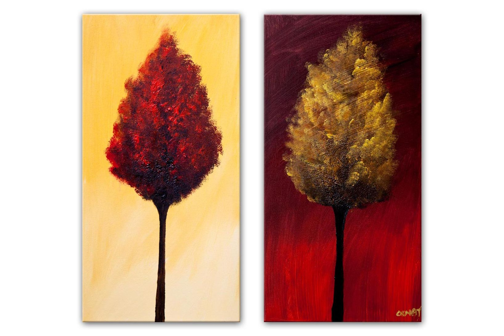 red gold blooming trees painting