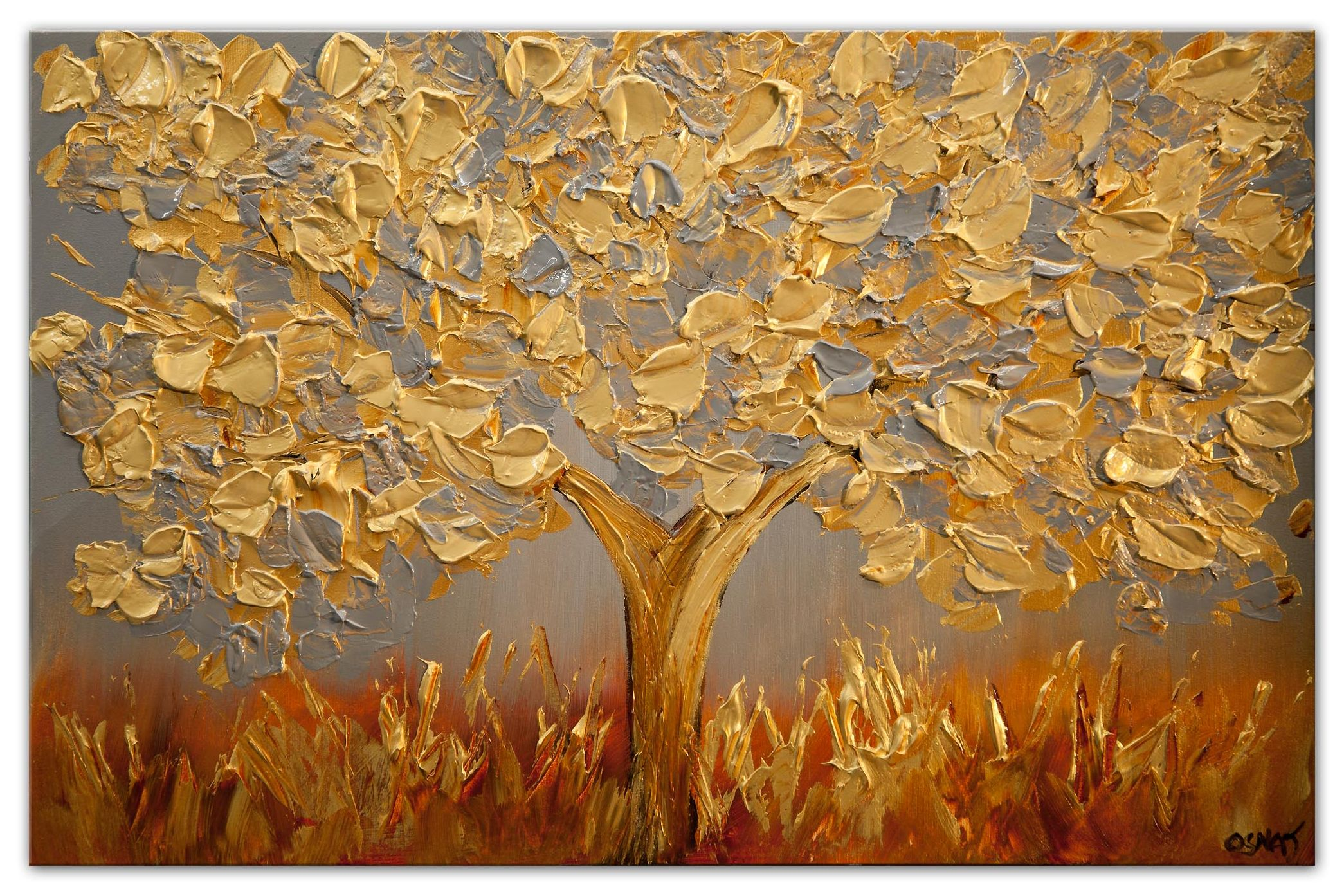 golden olive tree painting textured